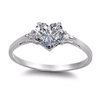 Cassie: 0.81ct Heart-cut Russian IOF CZ Promise Friendship Engagement Ring, 3135 sz 7.0, 925 Silver