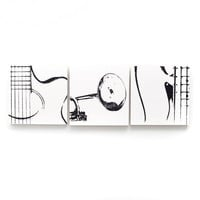 6 x 6 Musical Instrument Wood Canvas Trio: Guitar, Trumpet, & Bass (White w/ Black) Screenprint/Painting, Music Wall Art