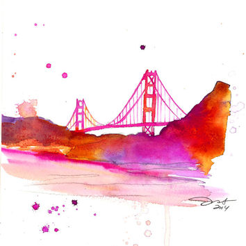 SF, print from original watercolor by Jessica Durrant