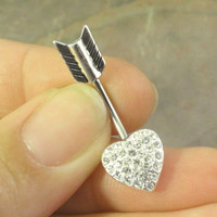 Silver Heart and Arrow Belly Button Jewelry Ring In-N-Out