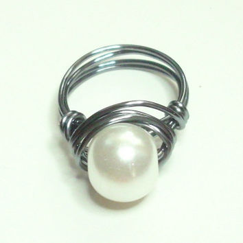 Gun Metal and White Pearl Wire Wrapped Ring