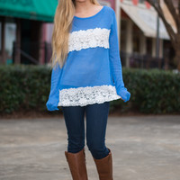 Floral Lines Top, Blue/White