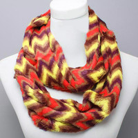 Brown Red Chevron Infinity Scarf