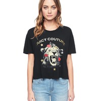 PITCH BLACK LION EMBELLISHED SHORT SLEEVE GRAPHIC TEE by Juicy Couture,