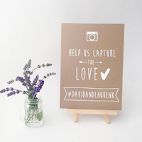 Photo Hashtag Instagram Sign, Ink-drawn Rustic Kraft or Chalkboard Style