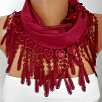 Burgundy Heart Scarf - Pashmina Scarf Cowl Scarf with Lace Edge - bridesmaid gift -  LOVE- fatwoman