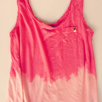 Ombre Bleached Studded Coral Tank Top Soft Summer Tank Hipster Boho