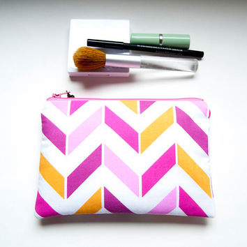 Handmade Cosmetic Pouch Clutch Bag, Wedding bridesmaids clutch purse in white pink orange chevron, Mothers day gift