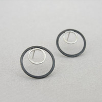 Circle in a circle earrings, sterling silver, two circles post earrings, geometric contemporary design, minimalist jewellery