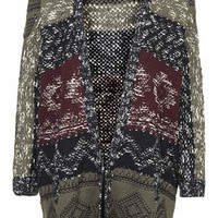 Patterned Slouchy Cardigan - Multi
