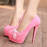 Pink Bow Knot Design High Heels