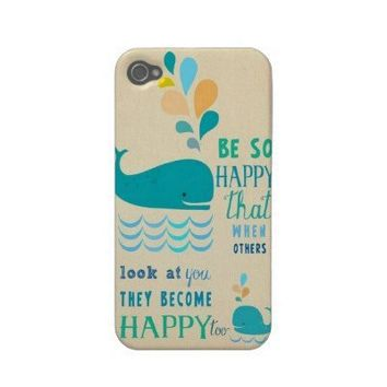 Be Happy whale iPhone 4 case! from Zazzle.com
