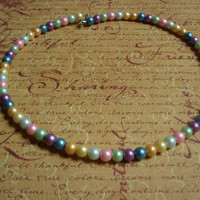 Pastel Pearl Beaded Necklace- Mothers Day- Vintage