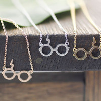 Cute Harry Potter Glasses Pendant Necklace in 3 colors, N0043K