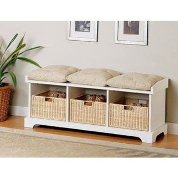 Wildon Home Westfir Storage Bench in White | Wayfair