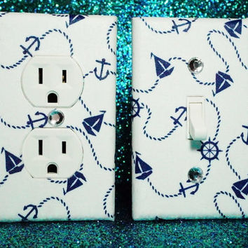 Set of 2 Sail Away Navy Blue and White Outlet Cover and Switch Plate ANY STYLES!