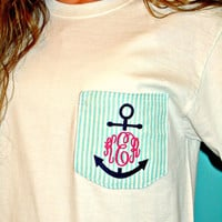 Preppy Anchor Monogrammed Fabric Pocket Tee Tshirt
