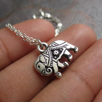 Gita, The Painted Elephant Necklace in Silver