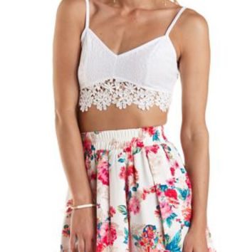 Ivory Crochet-Trim Lace Crop Top by Charlotte Russe