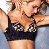 Victoria's Secret Black Rhinestone Lace Push Up Sling Balconet Bra S 34ABCD Brand New