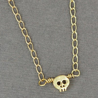 Tiny Skull Necklace : Gold Plated Skeleton Necklace, Tiny, Minimal, Delicate, Artisan Tree
