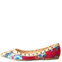 Fuchsia Combo Studded Floral Pointed Toe Flats by Charlotte Russe