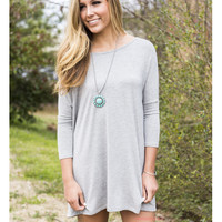 Heaven's Bliss Heather Gray Quarter Sleeve Solid Dress