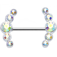 Round Aurora Gem Quintet Nipple Shield | Body Candy Body Jewelry