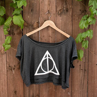 """Deathly Hallows Crop Top - In """"almost black"""" - One Size - American Apparel Loose Crop T"""