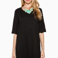 ELSA SCALLOPED DRESS IN BLACK