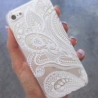 Plastic Case Cover for iPhone 5 5S 5C 6 6Plus (Pick One) Henna White Floral Paisley flower mandala ethnic tribal