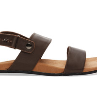 TOMS Brown Full Grain Leather Men's Moreno Sandals Brown