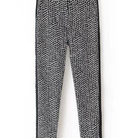 Black Spotted Houndstooth Printed Trousers