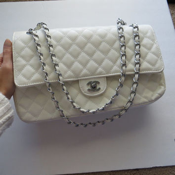 Large White and Silver Quilted Chanel Cross body Chain Shoulder Bag - crossbody purse designer logo classic handbag hand bag