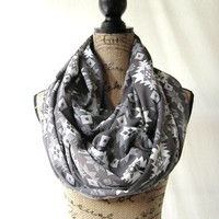 Ready To Ship Large and Cozy Gray and White Aztec Fabric Infinity Tube Scarf