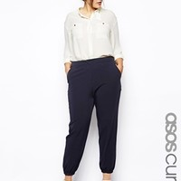 ASOS CURVE Pant With Elastic Cuff - Navy