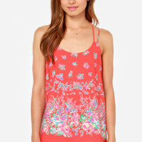 Live Fleur the Moment Red Floral Print Tank Top