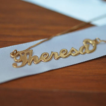 Rose Gold Plated Carrie Style Name Necklace