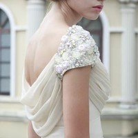 Hera Ivory Dress with Jewelled Shoulder by phenomenalcouture