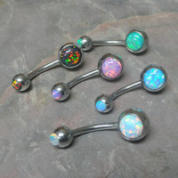 Fire Opal Belly Button Jewelry Ring You Choose Your Opal Color