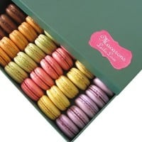 French Macarons - 24 Paris Fine Patisserie Macarons- Collections of Fruits, Floral & Chocolates- 10 Flavors
