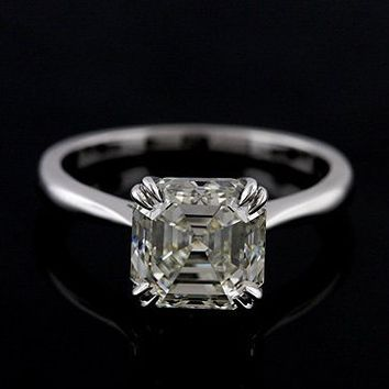 Platinum Solitaire Asscher Cut Diamond Engagement Ring by OroSpot
