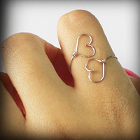 Double Heart - Silver Filled - Wire Wrapped Ring Adjustable