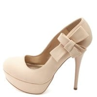 Side-Bow Platform Pumps by Charlotte Russe - Nude