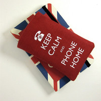 Red Phone Cover Keep Calm and Phone Home, iPhone 4, Samsung Galaxy S2, iPod Touch