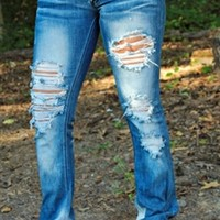 Dark Weathered Boot Cut Jeans