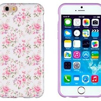"""iPhone 6 Case, DandyCase PERFECT PATTERN *No Chip/No Peel* Flexible Slim Case Cover for Apple iPhone 6 (4.7"""" screen) - LIFETIME WARRANTY [Pink & Lavender Vintage Floral]"""