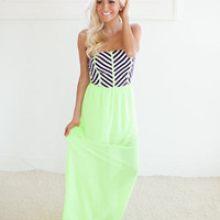 Compelling Tube Top Maxi Dress in Neon Yellow