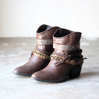 skye western bohemian booties , brown