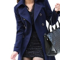 FINEJO Women's Lapel Irregular Hem Wool blends Coat Jacket Blazer